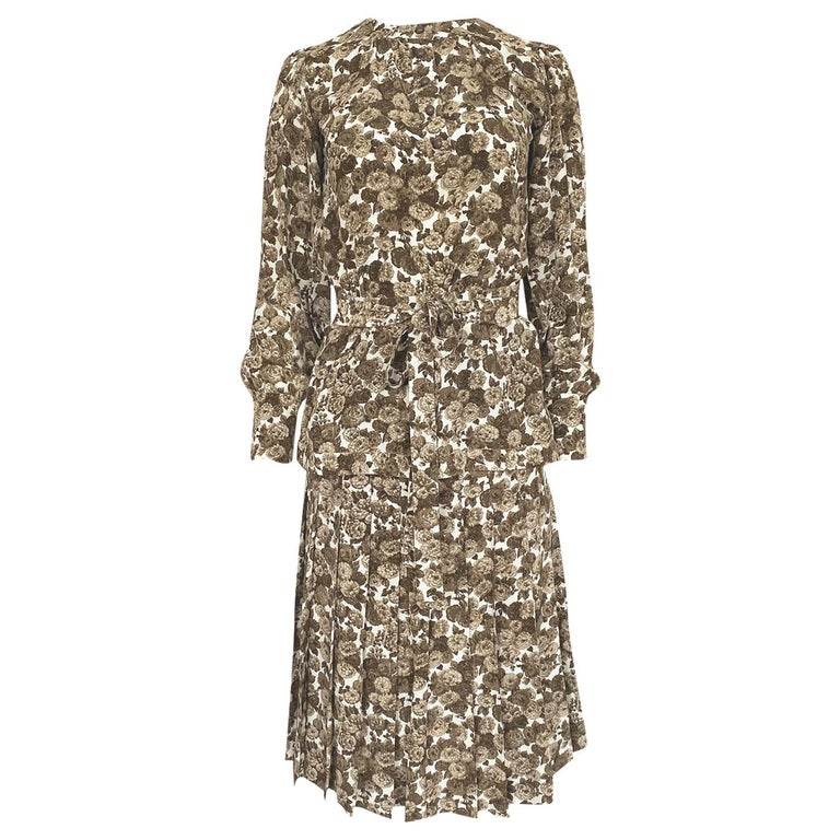 1970s Yves Saint Laurent Soft Brown Floral Print Silk Dress Top & Skirt Set For Sale