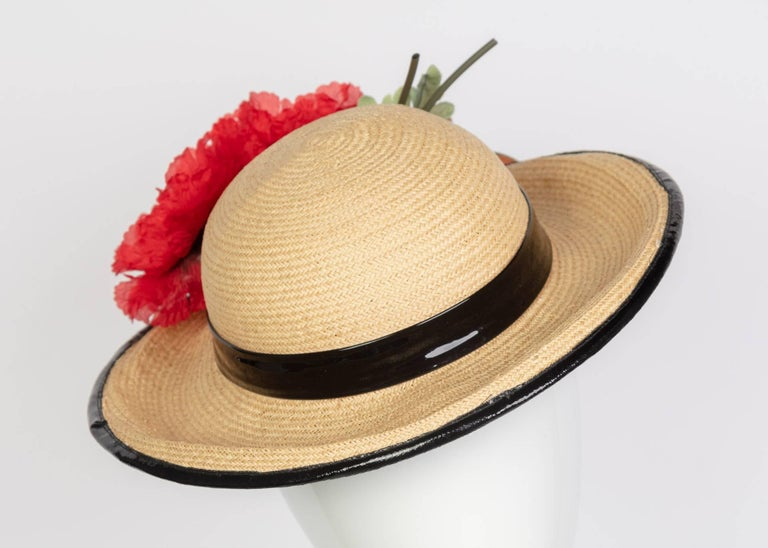 Beige Yves Saint Laurent Straw and Black Patent Leather Red Poppy Flower Hat, 1970s  For Sale