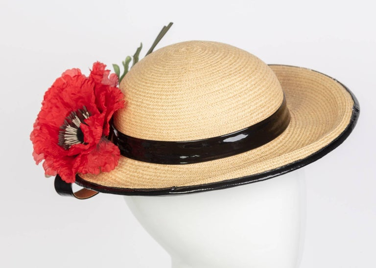 Yves Saint Laurent Straw and Black Patent Leather Red Poppy Flower Hat, 1970s  In Excellent Condition For Sale In Boca Raton, FL