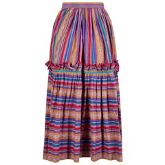 1970s Yves Saint Laurent Striped Peasant Skirt With Ruffle Frill