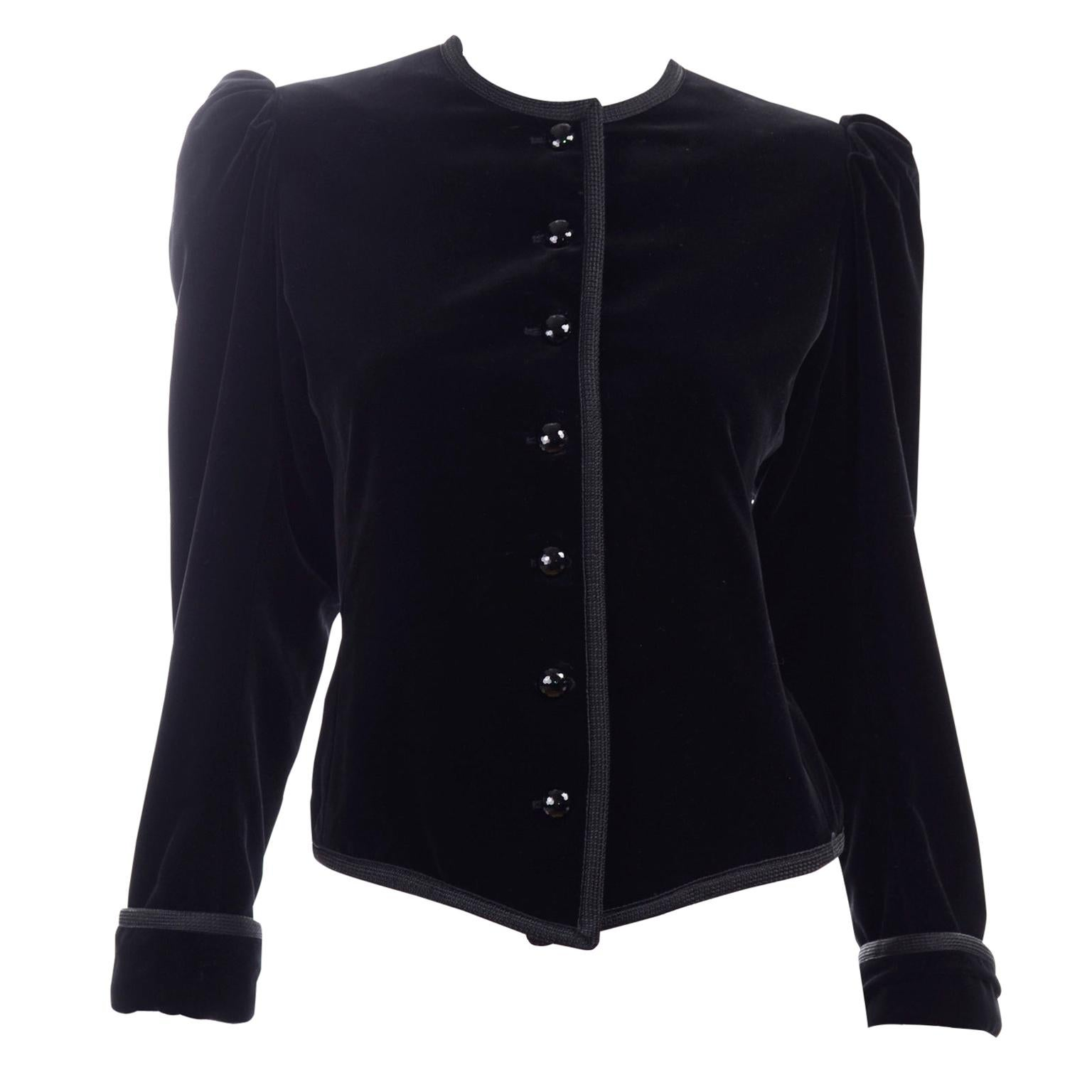 1970s Yves Saint Laurent Vintage Black Velvet Russian Jacket w Braid Trim
