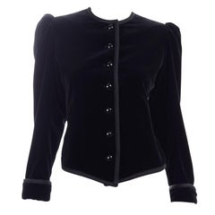1970s Yves Saint Laurent Vintage Black Velvet Russian Jacket w Braid Trim