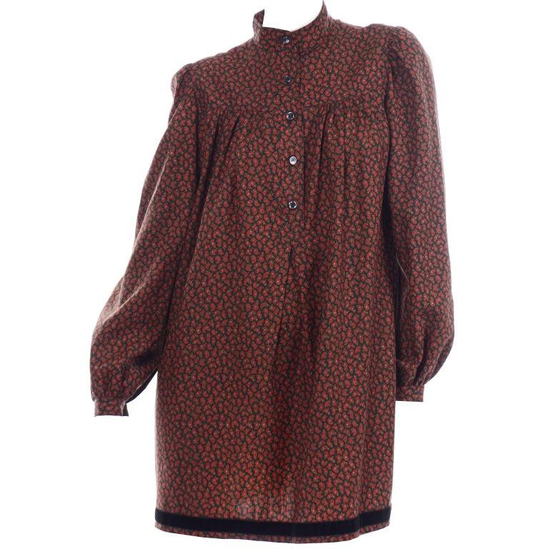 1970s Yves Saint Laurent Vintage Red Paisley Print Russian Peasant Mini Dress For Sale 5