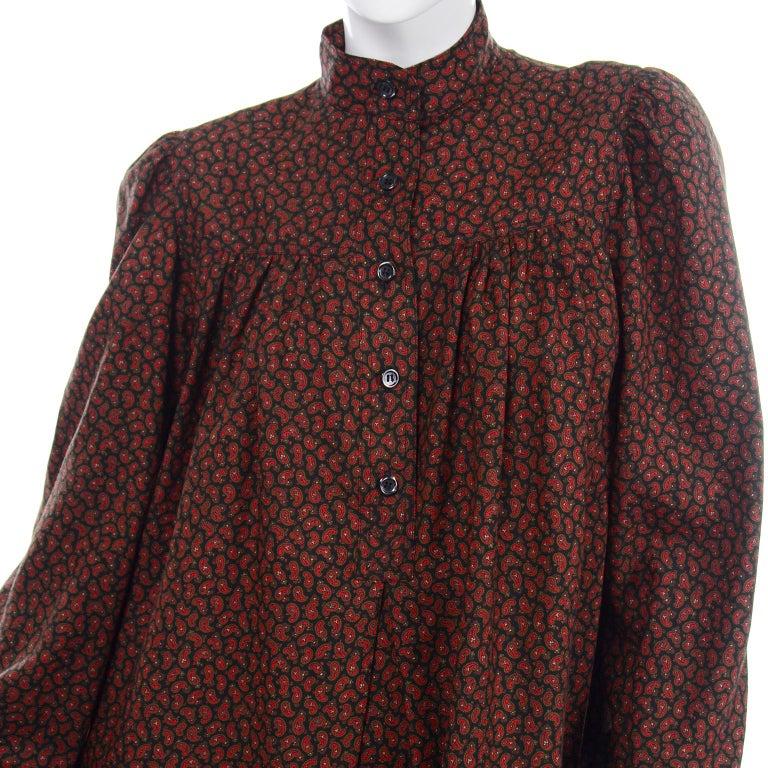 1970s Yves Saint Laurent Vintage Red Paisley Print Russian Peasant Mini Dress For Sale 6
