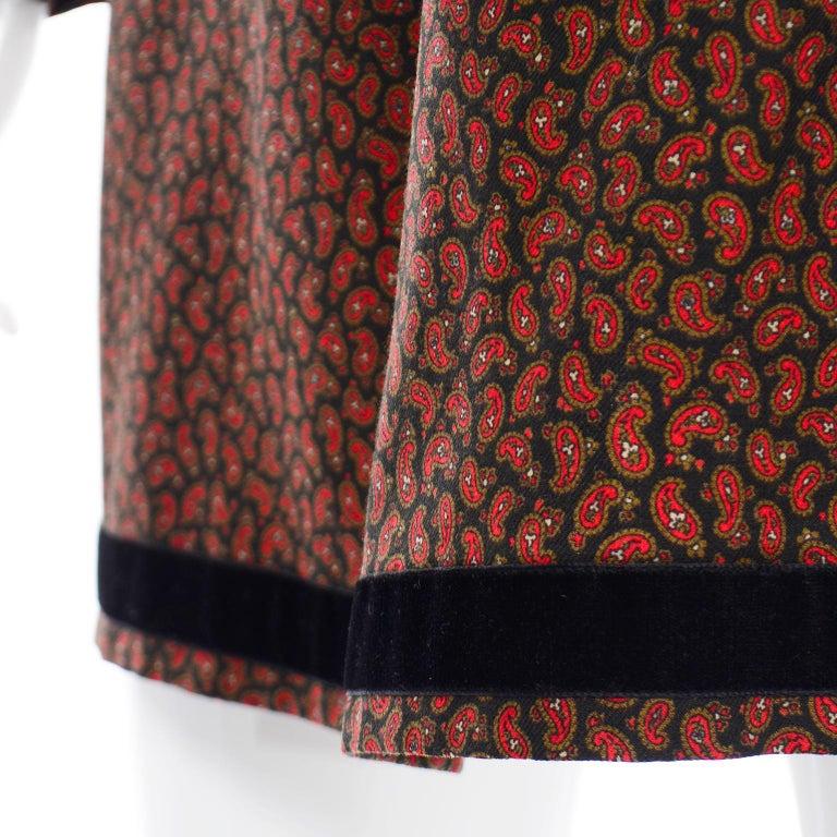 1970s Yves Saint Laurent Vintage Red Paisley Print Russian Peasant Mini Dress For Sale 7