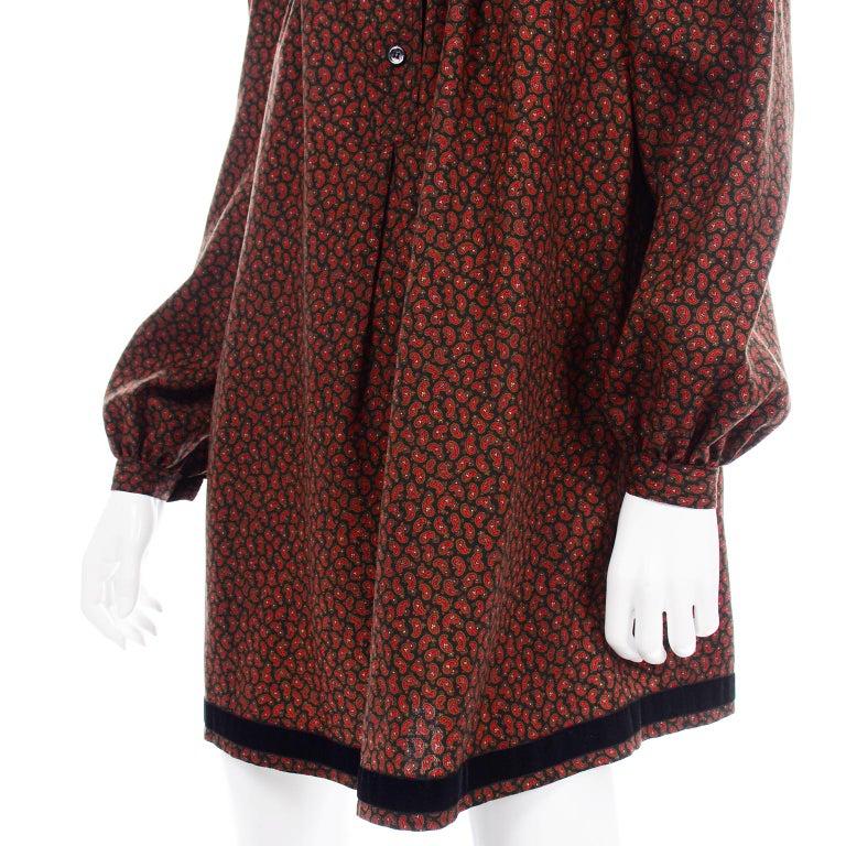 1970s Yves Saint Laurent Vintage Red Paisley Print Russian Peasant Mini Dress For Sale 8