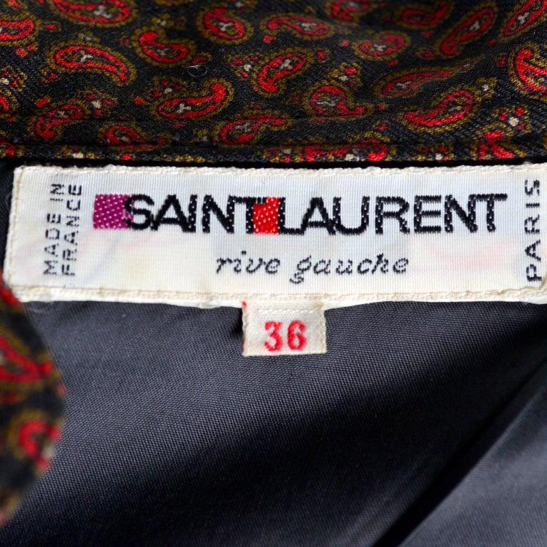 1970s Yves Saint Laurent Vintage Red Paisley Print Russian Peasant Mini Dress For Sale 9