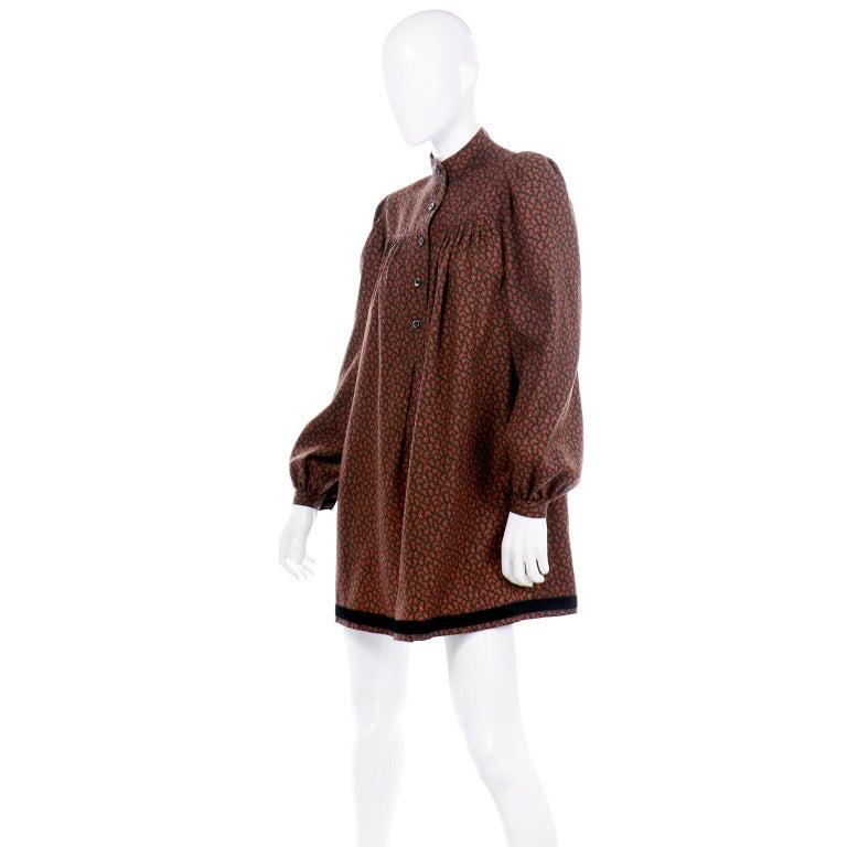 Brown 1970s Yves Saint Laurent Vintage Red Paisley Print Russian Peasant Mini Dress For Sale