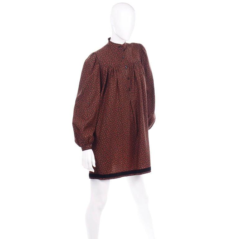 1970s Yves Saint Laurent Vintage Red Paisley Print Russian Peasant Mini Dress For Sale 2
