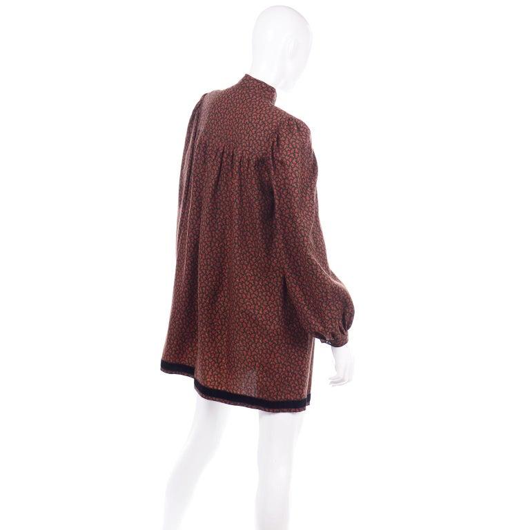 1970s Yves Saint Laurent Vintage Red Paisley Print Russian Peasant Mini Dress For Sale 3