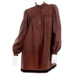 1970s Yves Saint Laurent Vintage Red Paisley Print Russian Peasant Mini Dress