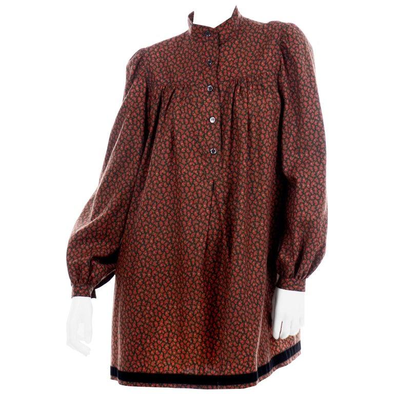 1970s Yves Saint Laurent Vintage Red Paisley Print Russian Peasant Mini Dress For Sale