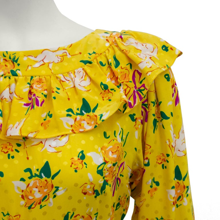 Women's 1970s Yves Saint Laurent Yellow Floral & Cupid Silk Jacquard Dress  For Sale