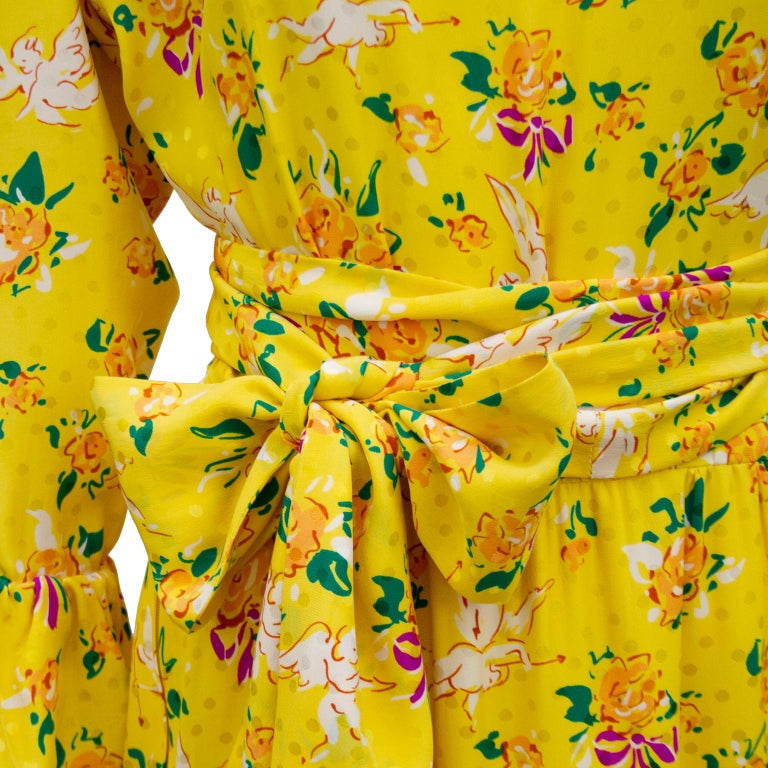1970s Yves Saint Laurent Yellow Floral & Cupid Silk Jacquard Dress  For Sale 1
