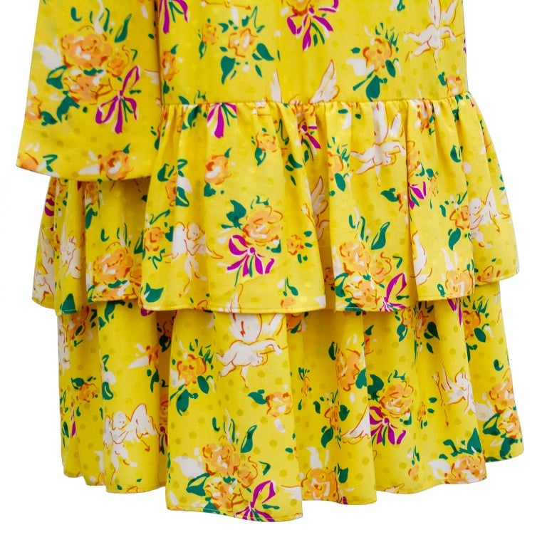 1970s Yves Saint Laurent Yellow Floral & Cupid Silk Jacquard Dress  For Sale 2