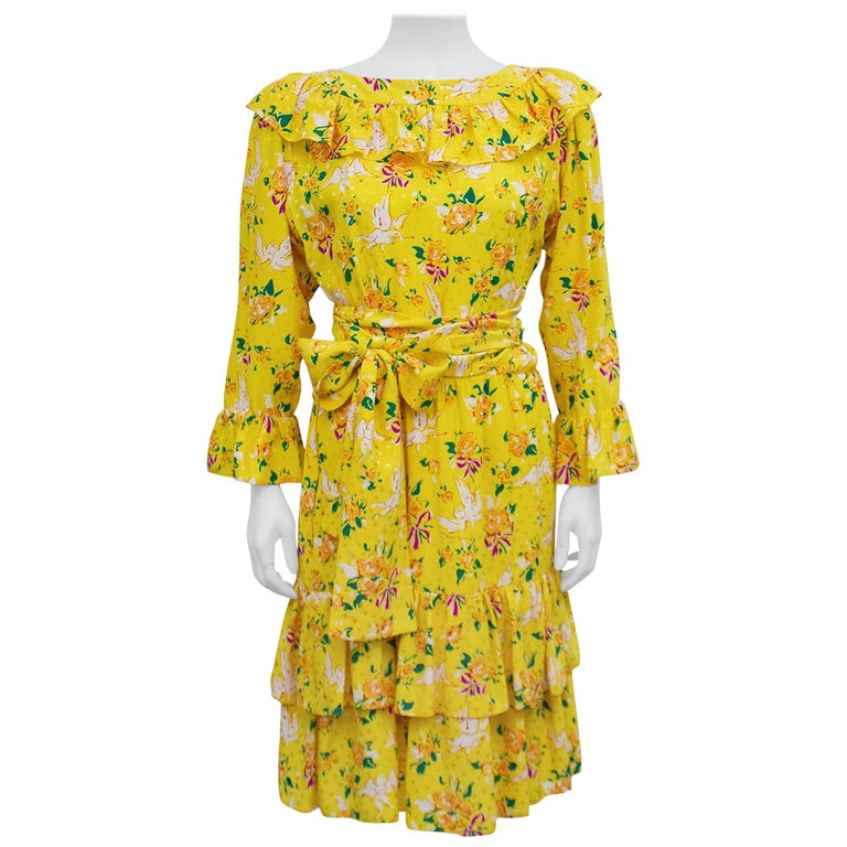 1970s Yves Saint Laurent Yellow Floral & Cupid Silk Jacquard Dress  For Sale
