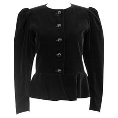 1970s Yves Saint Laurent/YSL Black Velvet Peplum Jacket