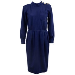 1970s Yves Saint Laurent/YSL Navy Wool Day Dress