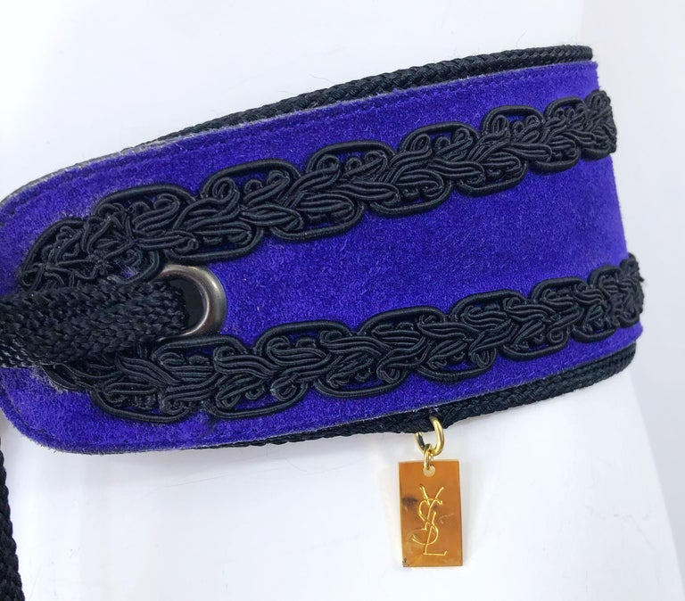 1970s Yves Saint Laurent YSL Russian Collection Purple Suede Vintage 70s Belt In Good Condition For Sale In Chicago, IL
