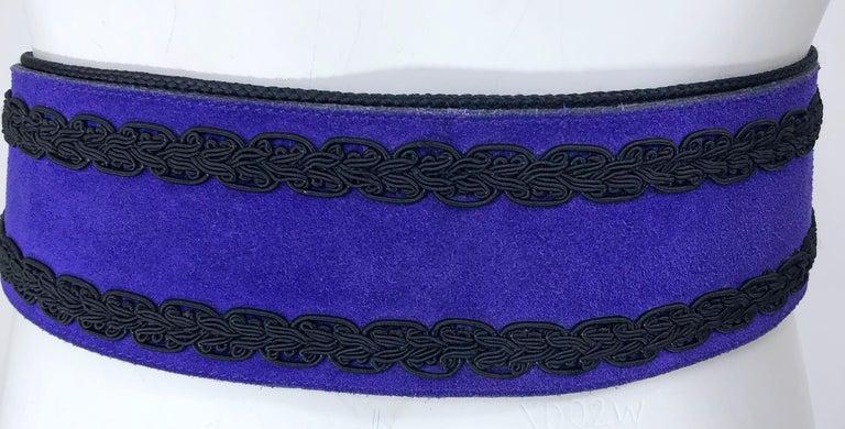 Women's 1970s Yves Saint Laurent YSL Russian Collection Purple Suede Vintage 70s Belt For Sale