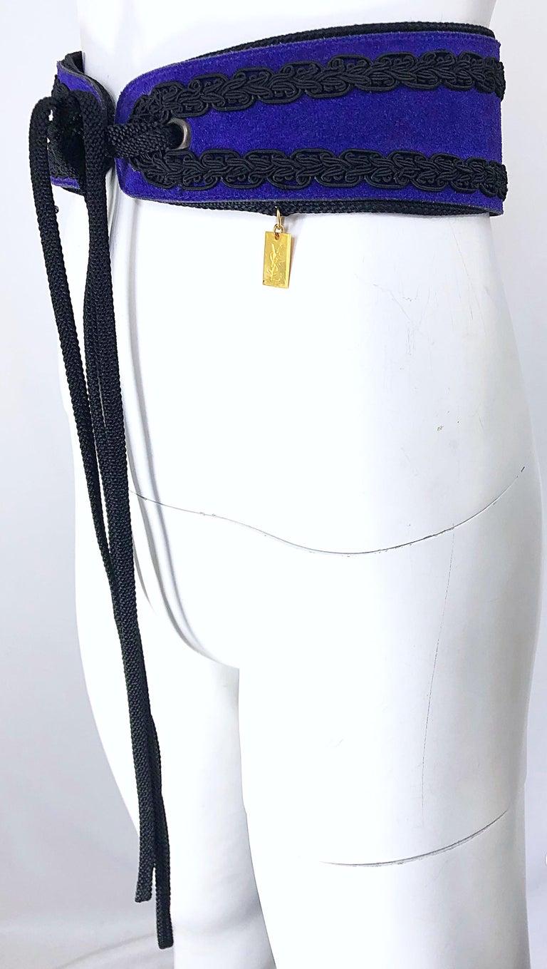 1970s Yves Saint Laurent YSL Russian Collection Purple Suede Vintage 70s Belt For Sale 2