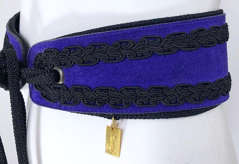 1970s Yves Saint Laurent YSL Russian Collection Purple Suede Vintage 70s Belt For Sale 3