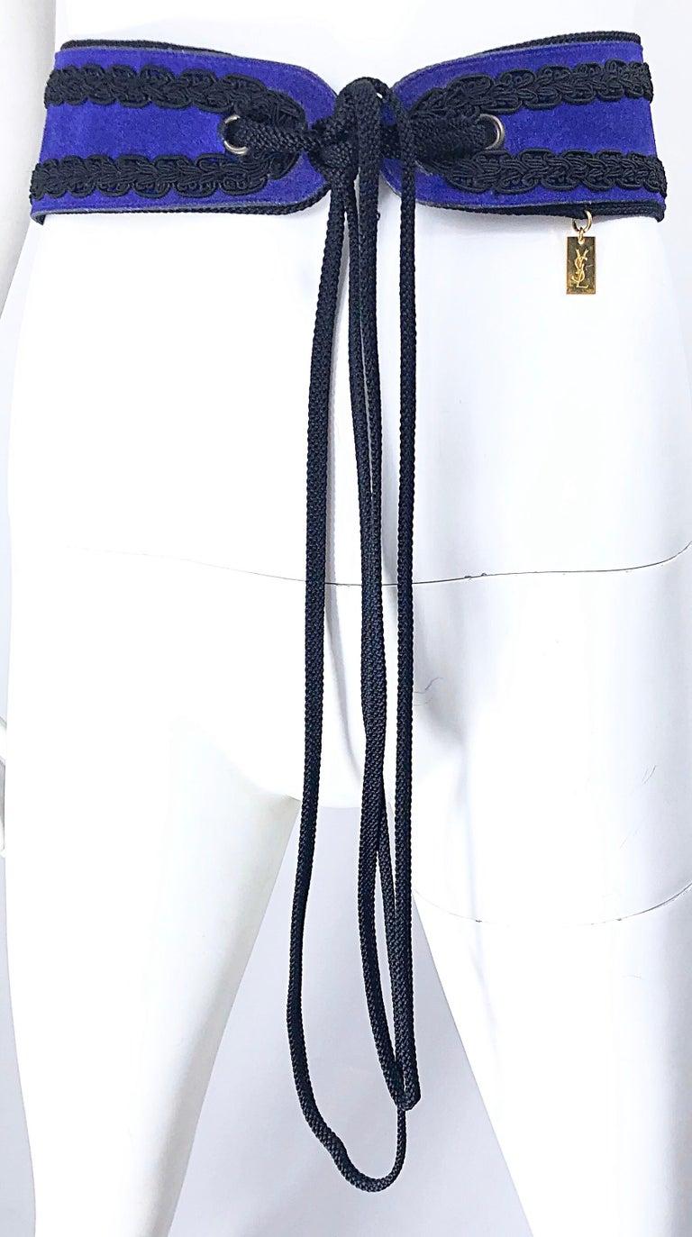1970s Yves Saint Laurent YSL Russian Collection Purple Suede Vintage 70s Belt For Sale 5
