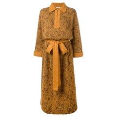 1970s Yves Saint Laurent YSL Saffron Orange Mohair Couture Dress