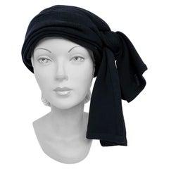 1970s Yves Saint Rive Gauche Laurent Black Knit Turban