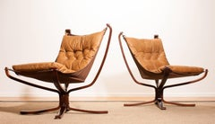 1970s, A Pair of Camel Leather Lounge - Arm Chairs by Sigurd Ressell