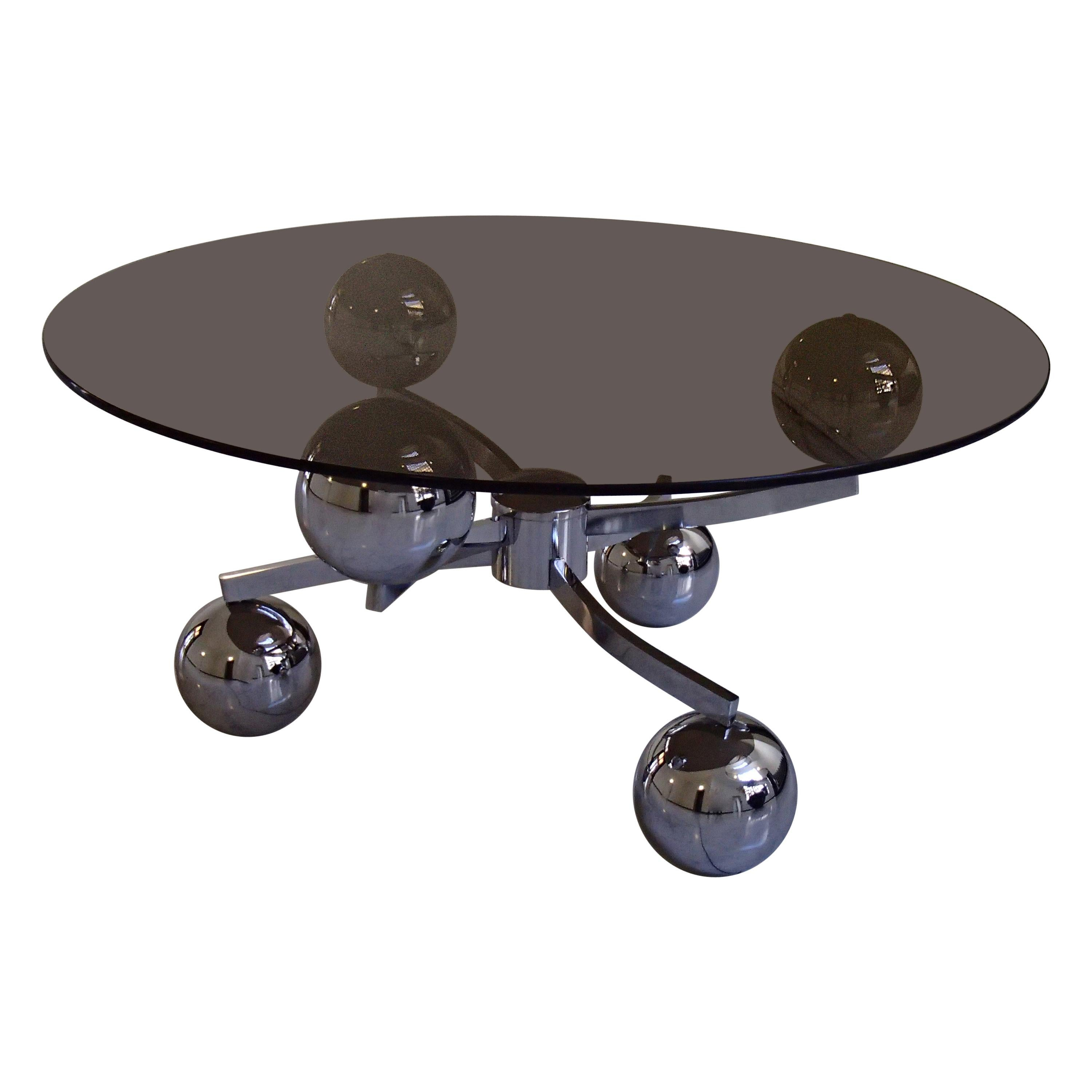 1970 This Planet Chrome Coffee Table Round Brown Glass Top