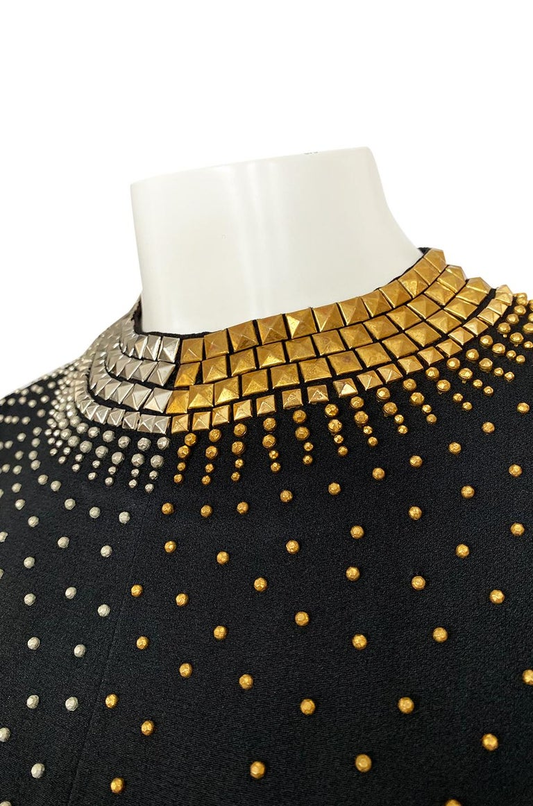 1971-73 Donald Brooks Brass and Silver Stud & Bead Black Crepe Dress 7