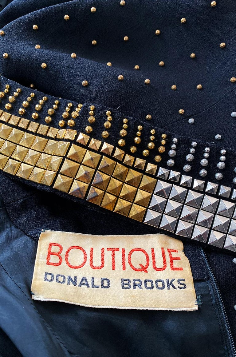 1971-73 Donald Brooks Brass and Silver Stud & Bead Black Crepe Dress 8