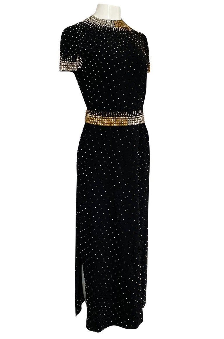 1971-73 Donald Brooks Brass and Silver Stud & Bead Black Crepe Dress In Excellent Condition In Rockwood, ON