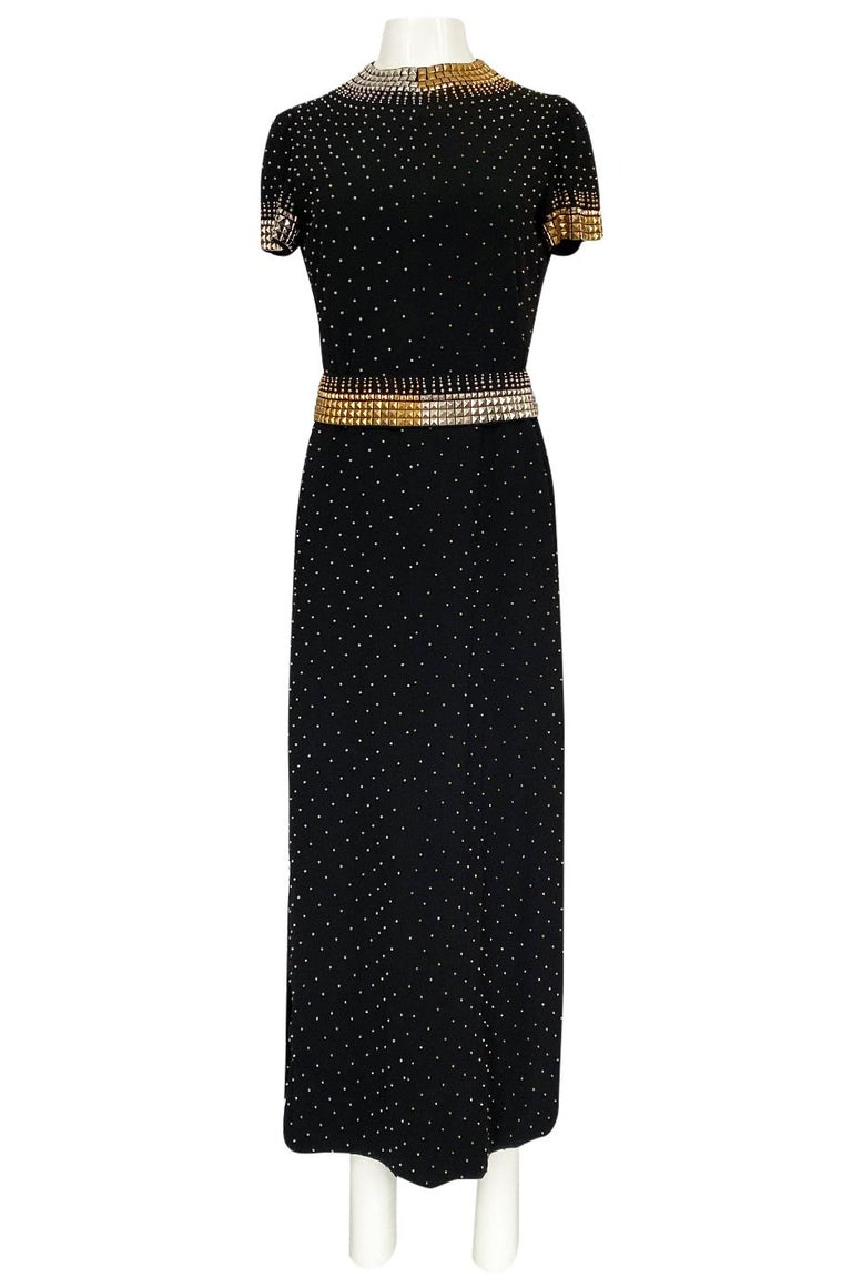 Women's 1971-73 Donald Brooks Brass and Silver Stud & Bead Black Crepe Dress