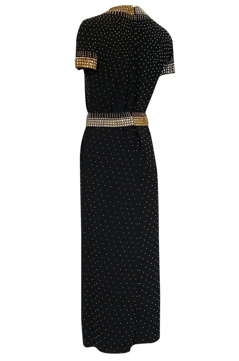 1971-73 Donald Brooks Brass and Silver Stud & Bead Black Crepe Dress 2