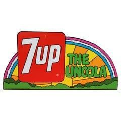 1971 7up Uncola Metal Sign Rainbow