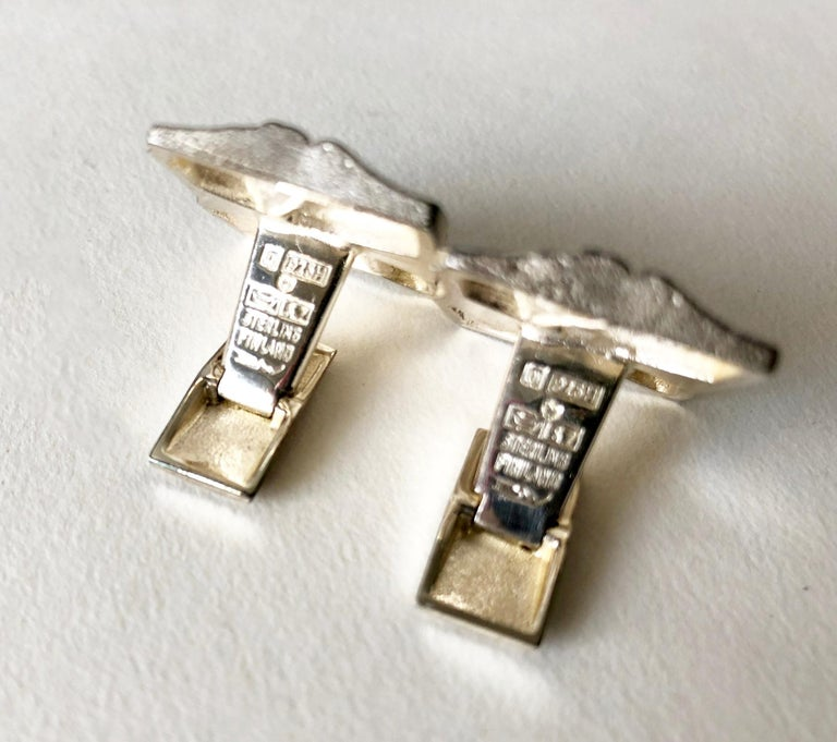 Modernist 1971 Bjorn Weckstrom for Lapponia Sterling Silver Finnish Space Age Cufflinks For Sale
