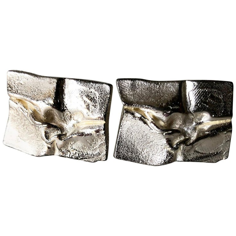 1971 Bjorn Weckstrom for Lapponia Sterling Silver Finnish Space Age Cufflinks For Sale