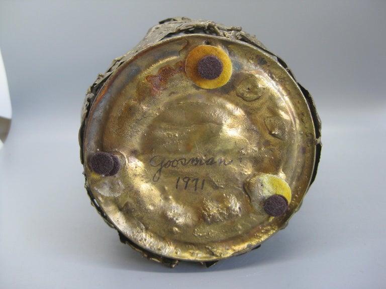 1971 Brutalist Torch-Cut Brass Candleholder Vase Sculpture Artist Signed For Sale 8