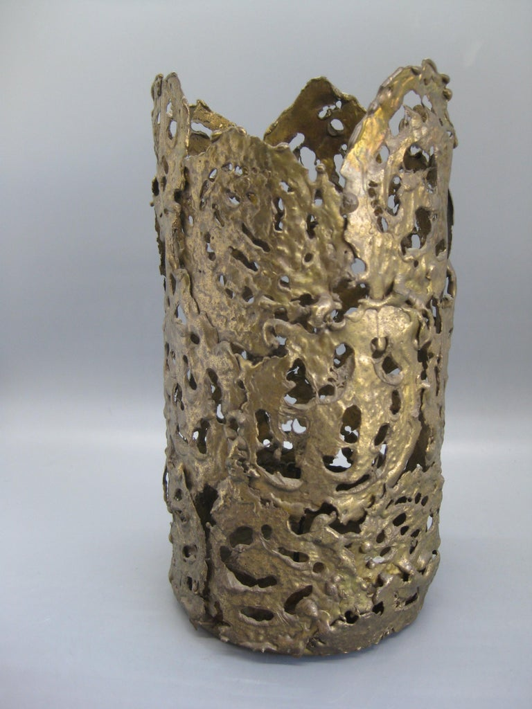 1971 Brutalist Torch-Cut Brass Candleholder Vase Sculpture Artist Signed In Excellent Condition For Sale In San Diego, CA