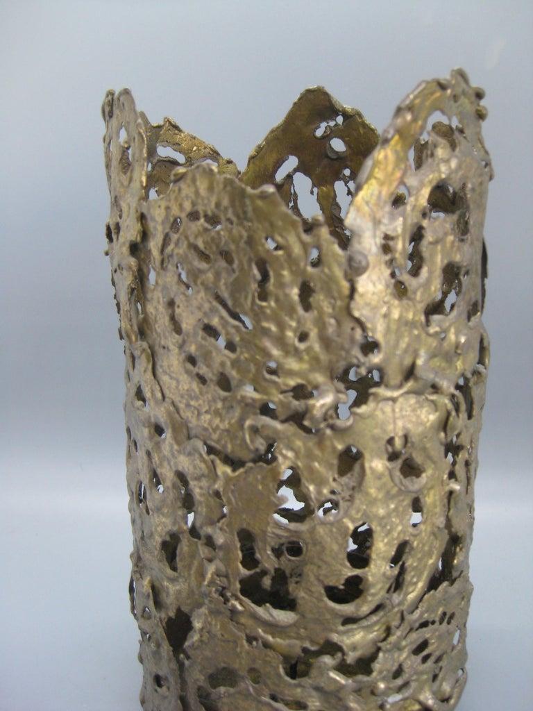 20th Century 1971 Brutalist Torch-Cut Brass Candleholder Vase Sculpture Artist Signed For Sale