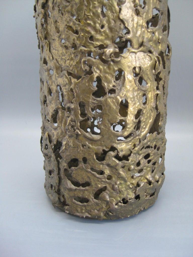 1971 Brutalist Torch-Cut Brass Candleholder Vase Sculpture Artist Signed For Sale 1