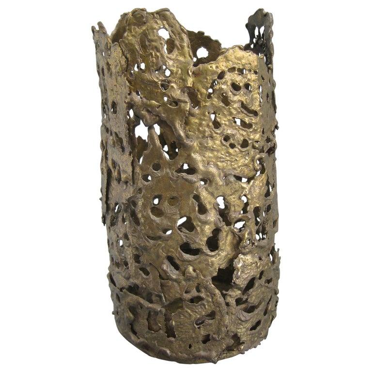 1971 Brutalist Torch-Cut Brass Candleholder Vase Sculpture Artist Signed For Sale