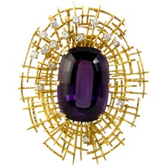1971 Frances Beck and Ernest Blyth Amethyst, Diamond and Gold Brooch