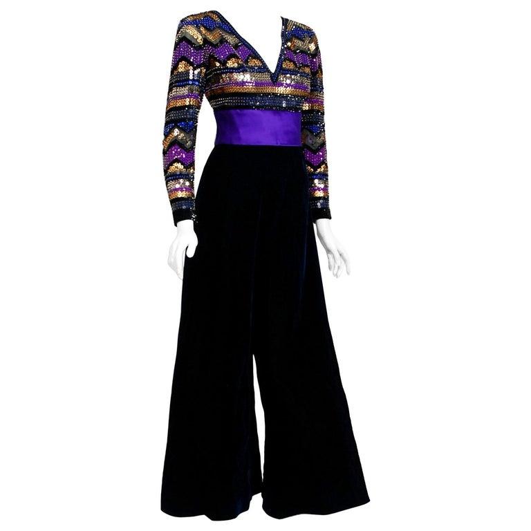 1971 Pierre Balmain Haute-Couture Graphic Beaded Blue Velvet Jumpsuit & Jacket For Sale