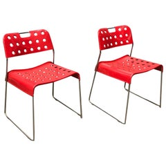 1971, Rodney Kinsman, for Bieffeplast, 2 Rare Red Omstak Stacking Chairs