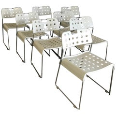 1971, Rodney Kinsman for Bieffeplast , 8 White Omk-Stack Stacking Chairs