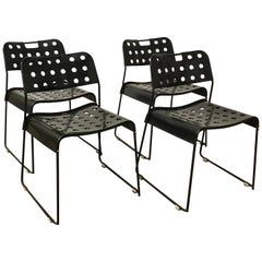 1971, Rodney Kinsman, Set of Rare All Black, Incl. Frame, Omstak Stacking Chairs