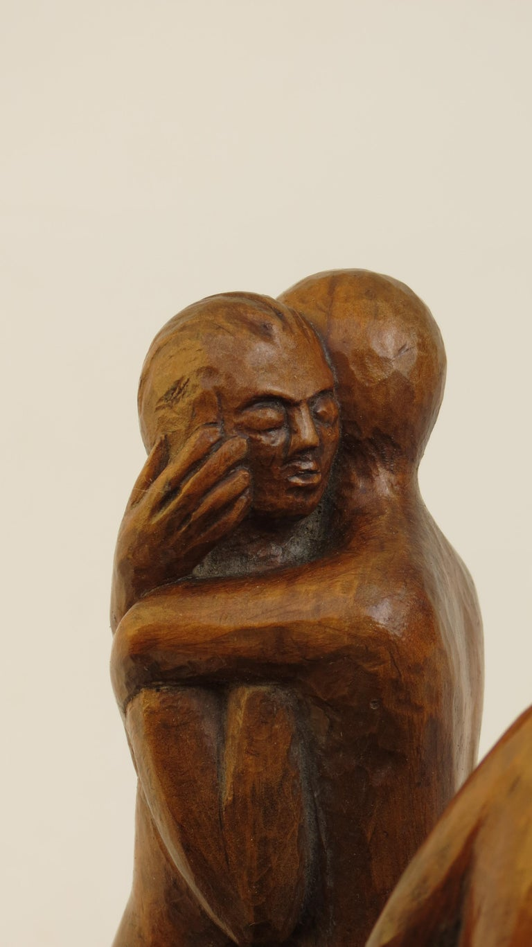 Hand-Carved 1971 Sculpture in Lime Wood by Thomas de la Berthauche For Sale